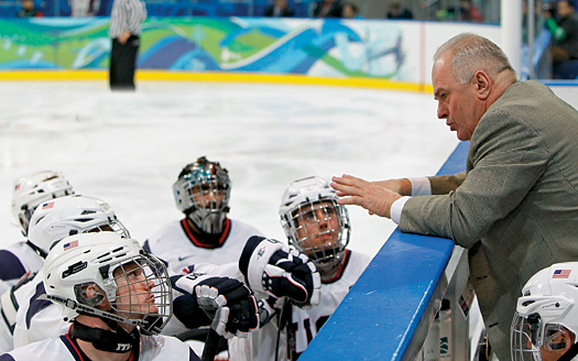 Head Coach Ray Maluta offers a few last minute instructions to his charges before they went out and ran the table at the 2010 Paralympic Winter Games, including a 2-0 victory over Japan in the gold-medal game.