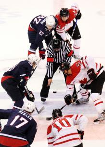 U.S. & Canada face off in the 2010 Olympic gold medal game. Both teams were filled with NHL players.
