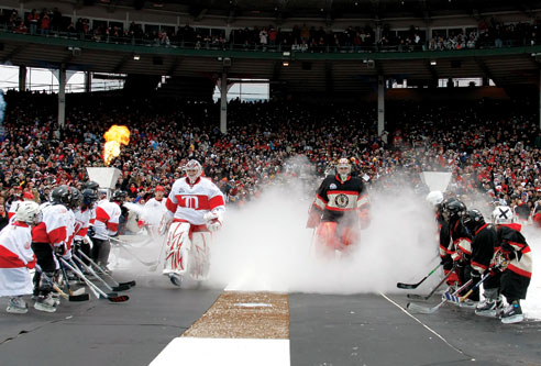 Local youth hockey players and members of area diversity programs cheer on the Detroit Red Wings and Chicago Blackhawks as they enter Wrigley Field for the 2009 Winter Classic.